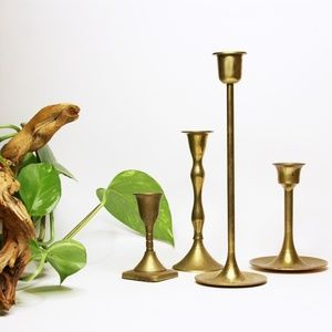 Vintage Brass Candle Stick Holders - Set Of 4